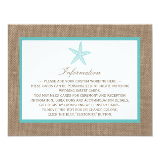 Turquoise Starfish Burlap Beach Wedding Collection 11 Cm X 14 Cm Invitation Card
