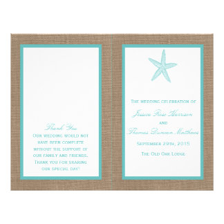 Turquoise Starfish Burlap Beach Wedding Collection 21.5 Cm X 28 Cm Flyer