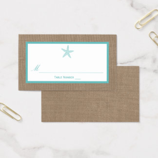 Turquoise Starfish Burlap Beach Wedding Collection Business Card