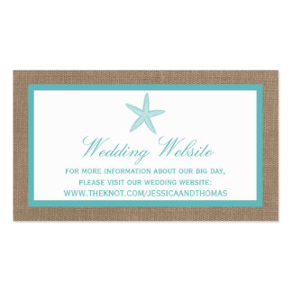 Turquoise Starfish Burlap Beach Wedding Collection Pack Of Standard Business Cards