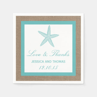 Turquoise Starfish Burlap Beach Wedding Collection Disposable Napkins