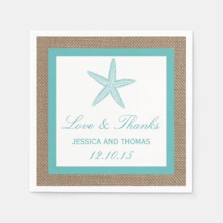 Turquoise Starfish Burlap Beach Wedding Collection Disposable Serviette