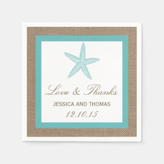 Turquoise Starfish Burlap Beach Wedding Collection Disposable Serviettes