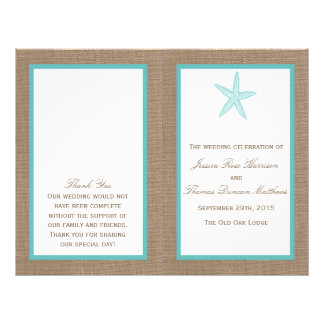 "Turquoise Starfish Burlap Beach Wedding Collection 8.5"" X 11"" Flyer"