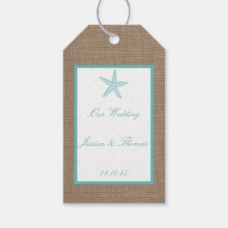 Turquoise Starfish Burlap Beach Wedding Collection Gift Tags