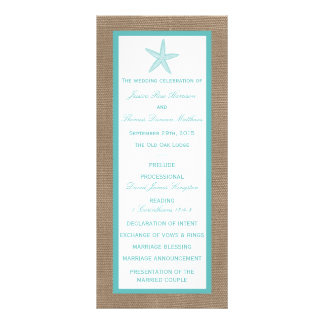 Turquoise Starfish Burlap Beach Wedding Collection Rack Card