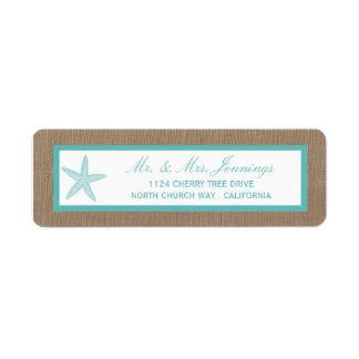 Turquoise Starfish Burlap Beach Wedding Collection Return Address Label