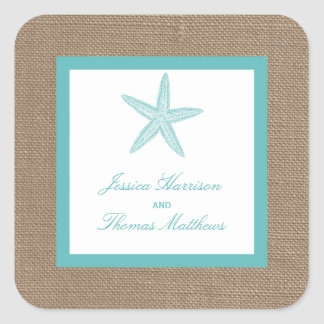 Turquoise Starfish Burlap Beach Wedding Collection Square Sticker