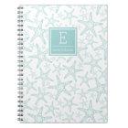 Turquoise Starfish Pattern Personalised Notebook