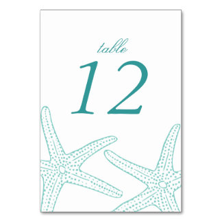 Turquoise Starfish Table Number Cards Table Cards