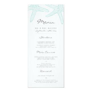 Turquoise Starfish Wedding Dinner Menu 10 Cm X 24 Cm Invitation Card