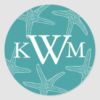 Turquoise Starfish Wedding Monogram Sticker