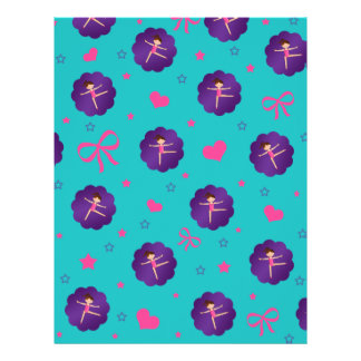 Turquoise stars hearts bows purple scallop gymnast 21.5 cm x 28 cm flyer