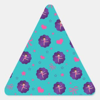 Turquoise stars hearts bows purple scallop gymnast sticker