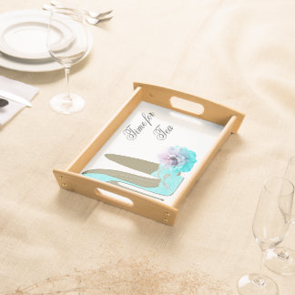 Turquoise Stiletto and Rose Serving Tray