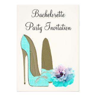 Turquoise Stiletto Rose Bachelorette Invitiation Personalized Announcements