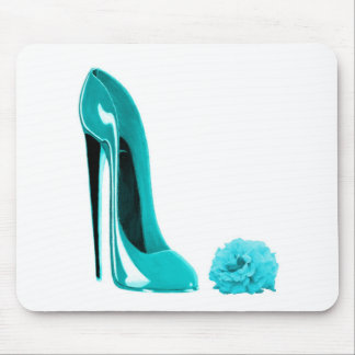 Turquoise Stiletto Shoe and Rose Mouse Mat