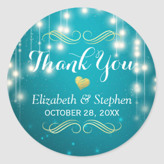 Turquoise String Lights Wedding Favor Thank You Classic Round Sticker