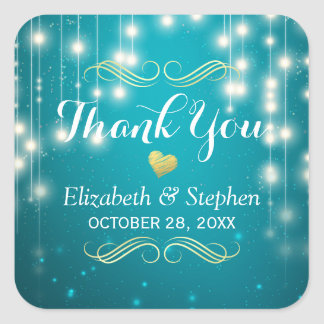 Turquoise String Lights Wedding Favor Thank You Square Sticker