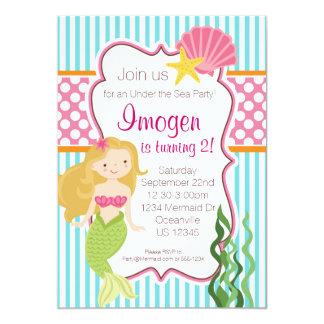 Turquoise Stripe, Pink Polka Dot Blonde Mermaid 13 Cm X 18 Cm Invitation Card