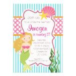Turquoise Stripe, Pink Polka Dot Blonde Mermaid Custom Announcement