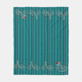 Turquoise Striped Bicycles Fleece Blanket