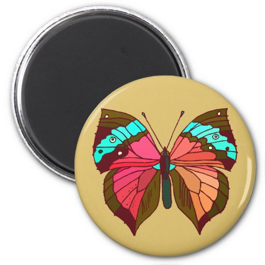 Turquoise Striped Butterfly Magnet