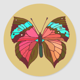 Turquoise Striped Butterfly Round Sticker