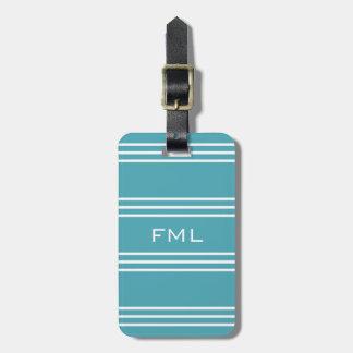 Turquoise Stripes custom luggage tag