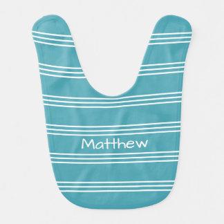 Turquoise Stripes custom monogram baby bib