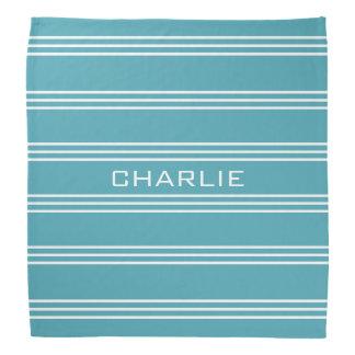 Turquoise Stripes custom monogram bandana