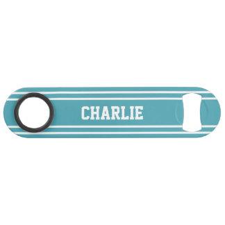 Turquoise Stripes custom monogram bottle opener