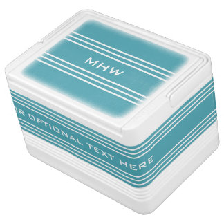 Turquoise Stripes custom monogram coolers Igloo Cooler