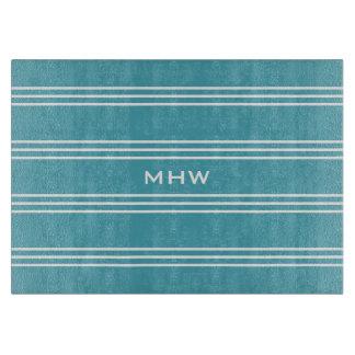 Turquoise Stripes custom monogram cutting boards