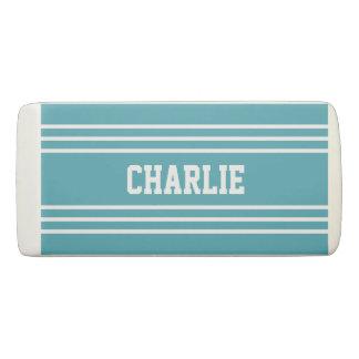 Turquoise Stripes custom monogram eraser
