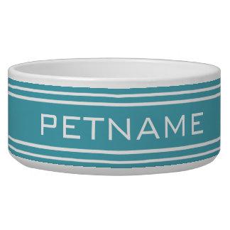 Turquoise Stripes custom monogram pet bowls