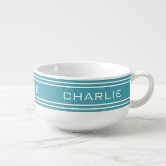 Turquoise Stripes custom monogram soup mug