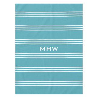 Turquoise Stripes custom monogram table cloths