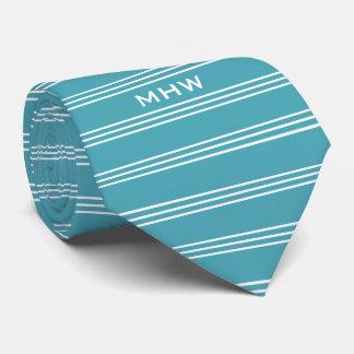 Turquoise Stripes custom monogram tie