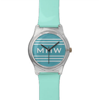 Turquoise Stripes custom monogram watch