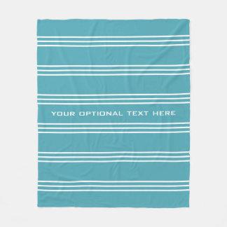 Turquoise Stripes custom text fleece blankets