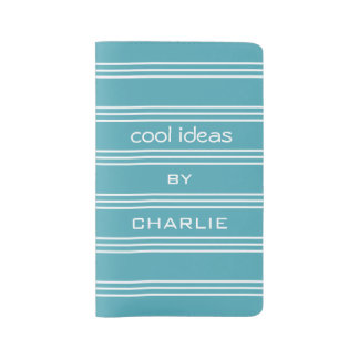 Turquoise Stripes custom text notebooks