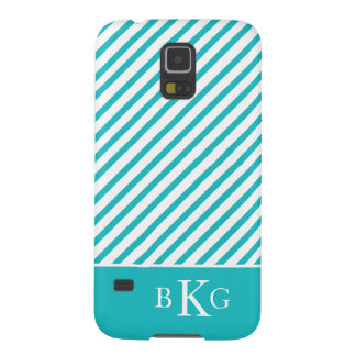 Turquoise Stripes & Initials Case For Galaxy S5