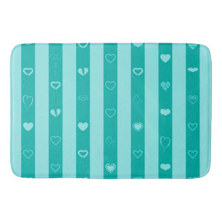 Turquoise Stripes Modern Heart Pattern Bath Mat