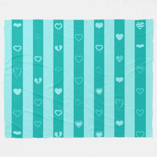 Turquoise Stripes Modern Heart Pattern Fleece Blanket