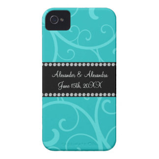 Turquoise swirls wedding favors Case-Mate iPhone 4 case