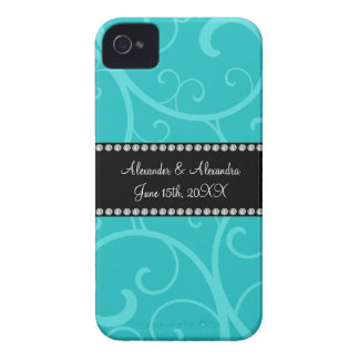 Turquoise swirls wedding favors iPhone 4 cover