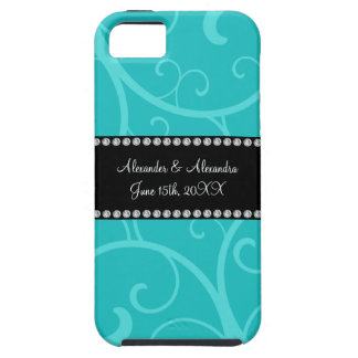 Turquoise swirls wedding favors iPhone 5 cover