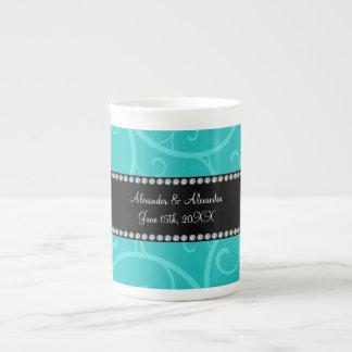 Turquoise swirls wedding favors porcelain mug