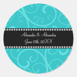 Turquoise swirls wedding favors round sticker